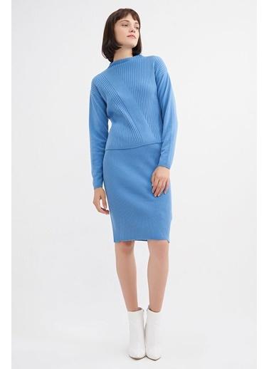 BGN Mavi - Dik Yaka Triko Kazak - Etek Takım Mavi